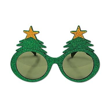 Lunettes fantaisie en forme de sapins de Noël pailletés, paquet de 2