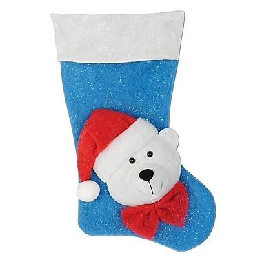 Chaussette de Noël lumineuse avec ours polaire, 19 po