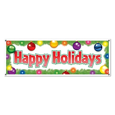 Banderole « Happy Holidays », 5 pi x 21 po, paquet de 3
