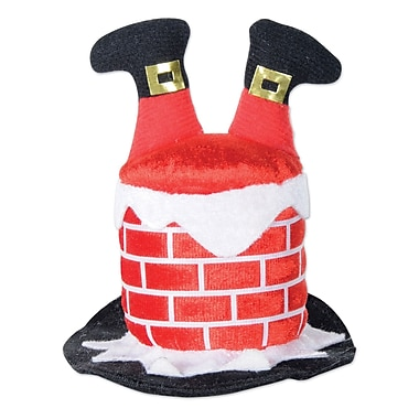 Chapeau en forme de cheminée et Père Noël avec pince à cheveux, paquet de 4