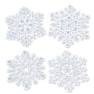 Paquet de découpes « Flocons de neige » scintillants, 14 po, paquet de 8