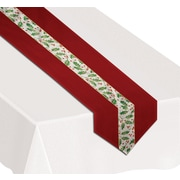 """Beistle 12"""" x 6' Christmas Holly Table Runner, Red, 2/Pack"""