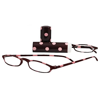 Peeperspecs® Vagabond Brown/Pink Polka Dot Reading Glasses