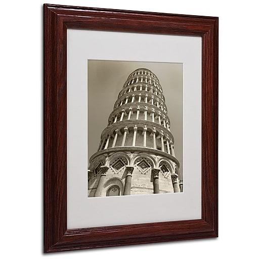"Trademark Fine Art 'Pisa Tower II' 11"" x 14"" Wood Frame Art"