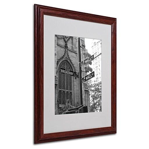 """Trademark Fine Art 'Wall Street Signs' 16"""" x 20"""" Wood Frame Art"""