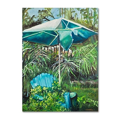 Trademark Fine Art 'Chair Umbrella Garden' 18