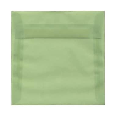 JAM PaperMD – Enveloppes carrées à fermeture gommée, 6 1/2 x 6 1/2 po, céladon translucide, 100/paq.