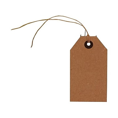 JAM Paper® Gift Tags with String, Medium, 2.38 x 4.25, Brown Kraft, 18/Pack (297523936g)