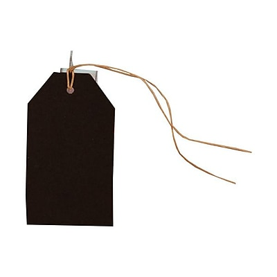 JAM Paper® Gift Tags with String, Medium, 2 3/8 x 4 1/4, Black Kraft, 6/pack (297523937)