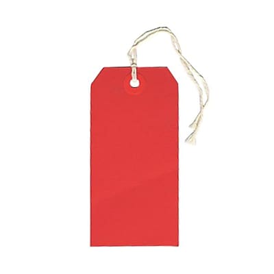 JAM Paper® Gift Tags with String, Medium, 2 3/8 x 4 3/4, Red, 10/pack (39197119)