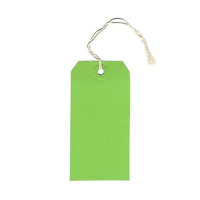 JAM Paper® Gift Tags with String, Medium, 2 3/8 x 4 3/4, Green, 100/pack (39197116B)