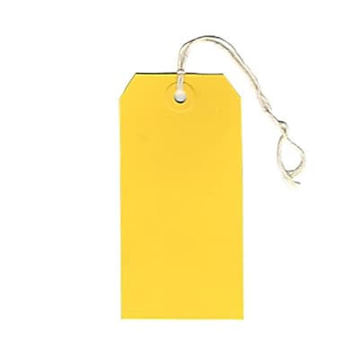 JAM Paper® Gift Tags with String, Medium, 2 3/8 x 4 3/4, Yellow, 100/pack (39197121B)