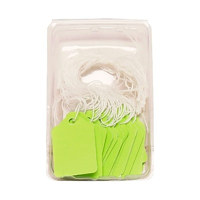 JAM Paper® Gift Tags with String, Mini, 1 3/4 x 1 1/10, Lime Green, 50/pack (391919111)
