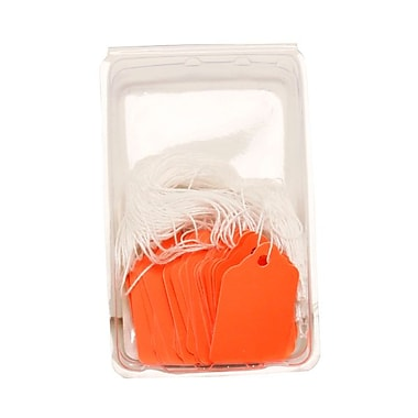 JAM Paper® Gift Tags with String, Mini, 1 3/4 x 1 1/10, Orange, 4 packs of 50 (391919112g)