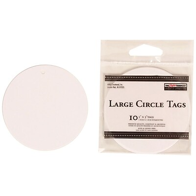 JAM Paper® Creative Gift Tags, Large, 3 x 3, White Circle, 10/pack (305124653)