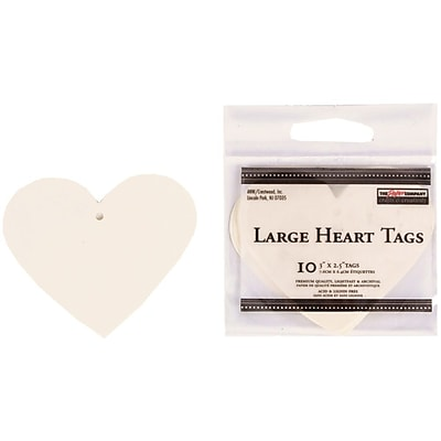 JAM Paper® Creative Gift Tags, Large, 3 x 2 1/2, Ivory Heart, 10/pack (305124656)