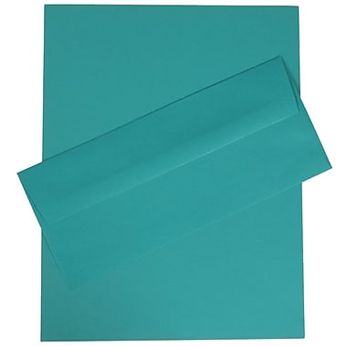 JAM Paper® Business Stationery Set, 100 Sheets of Paper and 100 #10 Envelopes, Brite Hue Sea Blue Recycled, 100/set (303024419)