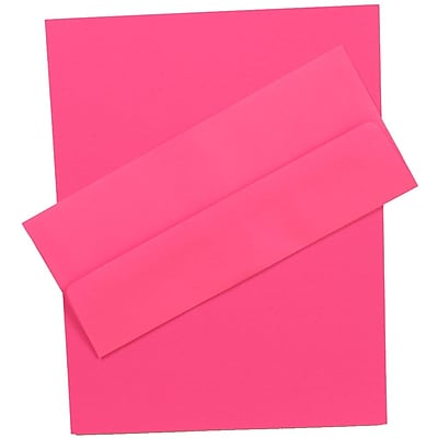 JAM Paper® Business Stationery Set, 100 Sheets of Paper and 100 #10 Envelopes, Brite Hue Ultra Fuchsia Pink, 100/set (303024420)