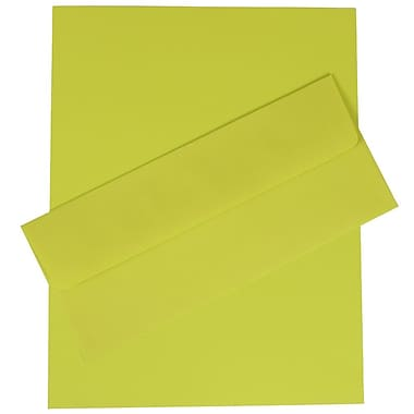 JAM Paper® Business Stationery Set, 100 Sheets of Paper and 100 #10 Envelopes, Brite Hue Ultra Lime Green, 100/set (303024421)