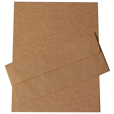 JAM Paper® Business Parchment Stationery Set, 100 Sheets of Paper and 100 #10 Envelopes, Brown Recycled, set of 100 (303024427)