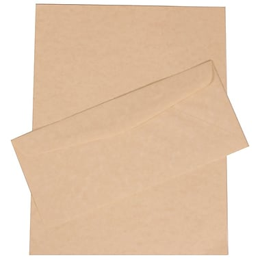 JAM Paper® Business Parchment Stationery Set, 100 Sheets of Paper and 100 #10 Envelopes, Natural Recycled, 100/set (303024429)