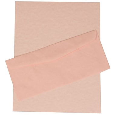 JAM Paper® Business Parchment Stationery Set, 100 Sheets of Paper and 100 #10 Envelopes Recycled, Pink, set of 100 (303024430)
