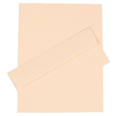 JAM Paper® Business Stationery Set, 100 Sheets of Paper and 100 #10 Envelopes, Strathmore Natural White, set of 100 (303024443)