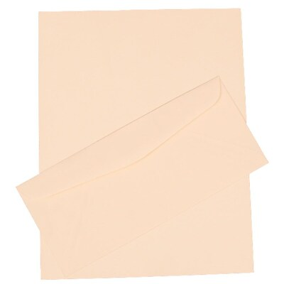 JAM Paper® Business Stationery Set, 100 Sheets of Paper, 100 #10 Envelopes, Strathmore Natural White Laid, 100/set (303024440)