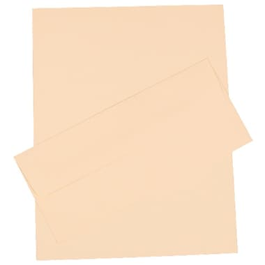 JAM Paper® Business Stationery Set, 100 Sheets of Paper and 100 #10 Envelopes, Strathmore Ivory Linen, set of 100 (303024439)