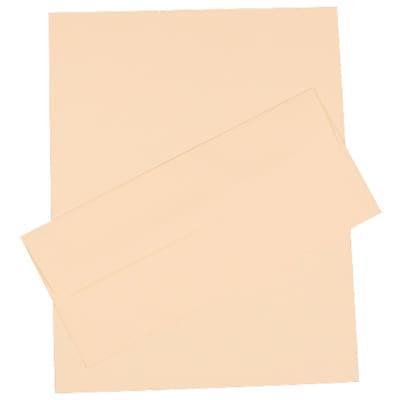 JAM Paper® Business Stationery Set, 100 Sheets of Paper and 100 #10 Envelopes, Strathmore Ivory Linen, set of 100 (303024439)