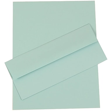 JAM Paper® Business Stationery Set, 50 Sheets of Paper and 5 #10 Envelopes, Aqua Blue, set of 100 (303024444)