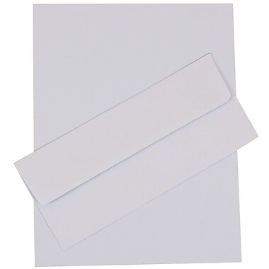 JAM Paper® Business Stationery Set, 50 Sheets of Paper and 5 #10 Envelopes, Baby Blue, set of 100 (303024445)