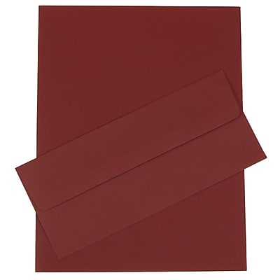 JAM Paper® Business Stationery Set, 50 Sheets of Paper and 50 #10 Envelopes, Burgundy, set of 100 (303024447)