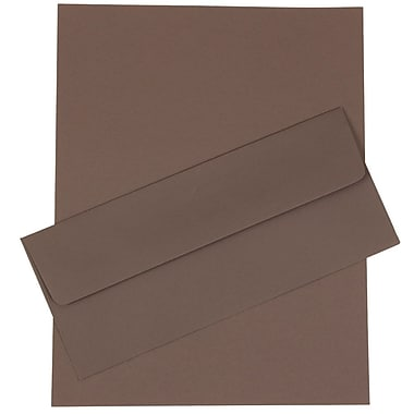 JAM Paper® Business Stationery Set, 50 Sheets of Paper and 50 #10 Envelopes, Dark Grey, set of 100 (303024448)