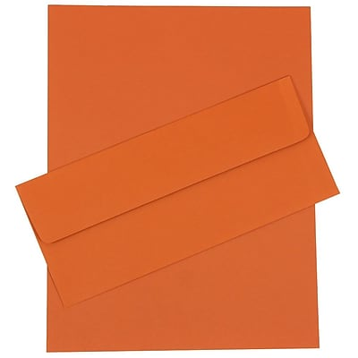 JAM Paper® Business Stationery Set, 50 Sheets of Paper and 50 #10 Envelopes, Dark Orange, set of 100 (303024449)