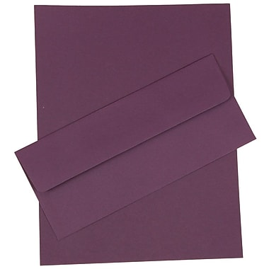 JAM Paper® Business Stationery Set, 50 Sheets of Paper and 50 #10 Envelopes, Dark Purple, set of 100 (303024450)