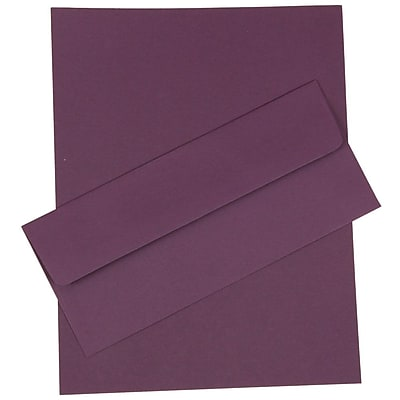 JAM Paper® Business Stationery Set, 50 Sheets of Paper and 50 #10 Envelopes, Dark Purple, set of 100 (303024450)