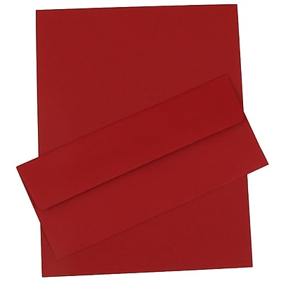 JAM Paper® Business Stationery Set, 50 Sheets of Paper and 50 #10 Envelopes, Dark Red, set of 100 (303024451)