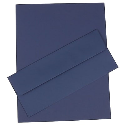 JAM Paper® Business Stationery Set, 50 Sheets of Paper and 50 #10 Envelopes, Presidential Blue, set of 100 (303024453)