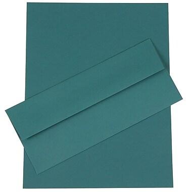 JAM Paper® Business Stationery Set, 50 Sheets of Paper and 50 #10 Envelopes, Teal Blue, set of 100 (303024454)