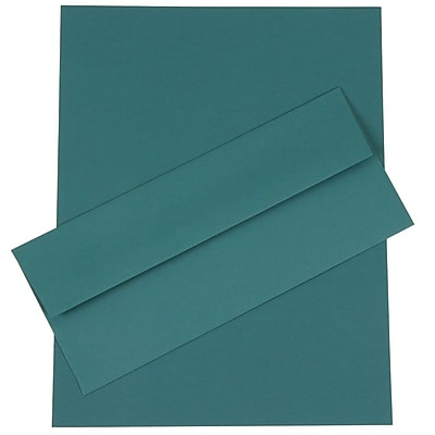 JAM Paper® Business Stationery Set, 50 Sheets of Paper and 50 #10 Envelopes, Teal Blue, set of 100 (303024454)