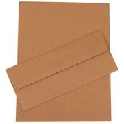JAM Paper® Business Stationery Set, 50 Sheets of Paper, 50 #10 Envelopes, Brown Kraft Paper Bag Recycled, set of 50 (303024455)