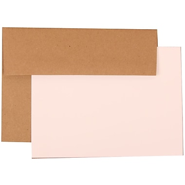 JAM Paper® Recycled Stationery Set, 25 White Cards and 25 A7 Envelopes, Fossil Brown, 4 packs of 25 (304624572g)