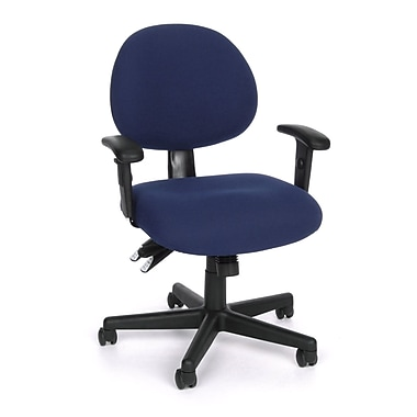OFM 241-AA-202 24 Hour Fabric Task Chair with Adjustable Arms, Blue