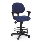 OFM 24-Hour/Multi-Shift Fabric Task Chair and Drafting Kit, Adjustable Arms, Blue