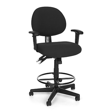 OFM 241-AA-DK-203 24 Hour Fabric Task Chair and Drafting Kit with Adjustable Arms, Charcoal (845123012444)