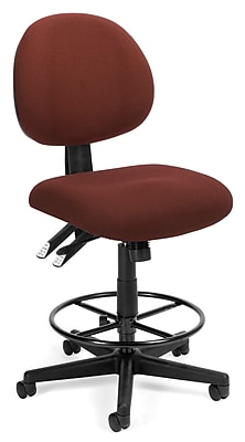 OFM Fabric 24-Hour Computer Task Stool, Armless, Burgundy (241-DK-201)