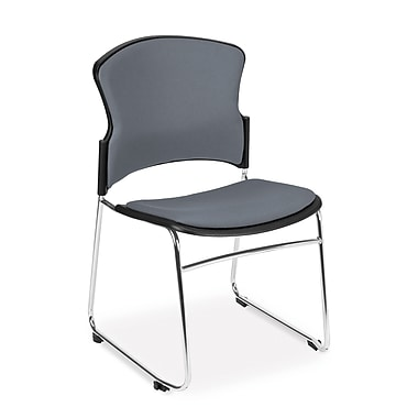 OFM™ Fabric Armless Multi-Use Stack Chair, Gray