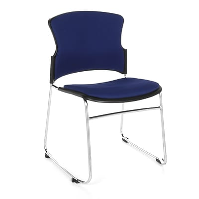 OFM™ Fabric Armless Multi-Use Stack Chair, Navy