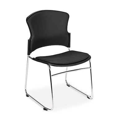 OFM™ Fabric Armless Multi-Use Stack Chair, Black